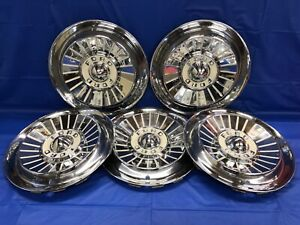 Vintage Set Of 5 1957 Ford 14 Hubcaps Fairlane Tbird Galaxie Fomoco