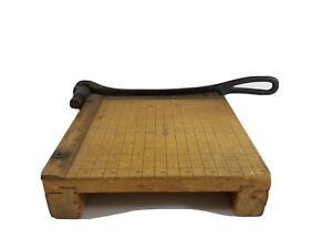 Vintage Ingento No 2 Paper Cutter Wood Cast Iron Handle Small Square Cutter 9