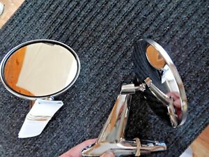 Nos vintage Classic Chrome Twin Sport Round Car Truck Side View Mirrors
