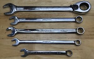 Snap on Tools Lot Of 5 Combination Wrenches 3 8 1 2 13mm Blue point 19mm