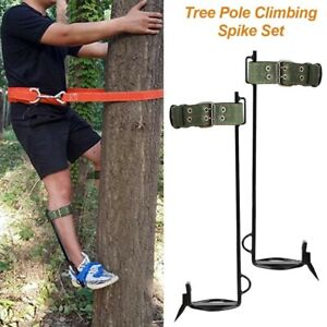 Tree Climbing Spike Set With Safety Belt Straps Gaff Spikes Set Outdoor Camping