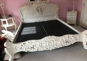 Exquisite Vintage Shabby French Ornate King Bed Headboard And Footboard Chic