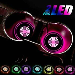 2 X Led Cup Pad Car Accessories Light Cover Interior Decoration Lights 7 Colors