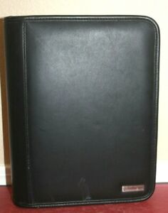 Franklin Covey Black Classic 7 Ring Planner Genuine Leather