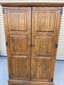 Ranch Oak Armoire Two Door Closet Wardrobe For Hanging W Drawers Shelves