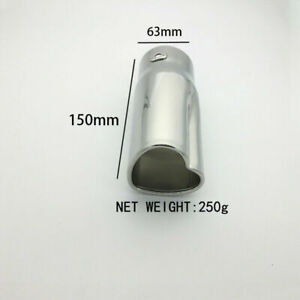63mm Silver Heart shaped Car Rear Exhaust Pipe Tip Tail Throat Straight Muffler