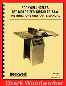 Rockwell delta 10 Motorized Table Saw 34 335 34 336 Owner Parts Manual 1320