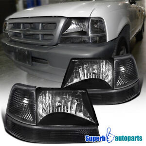 For 1998 2000 Ford Ranger Diamond Black Headlights corner Turn Signal Lamps Pair