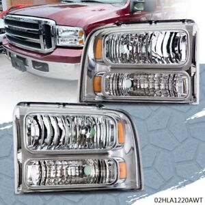 Headlight For 2005 2007 Ford F250 F350 Super Duty Amber Corner Headlamps New