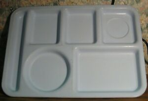 Arrowhead Blue Plastic School Cafeteria Compartmented Serving Tray 1980s Vtg