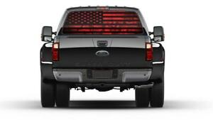 American Flag Camouflage Red Rear Window Graphic Decal Sticker Truck