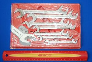 New Snap on 7 Pc Sae Flank Drive Plus Four way Angle Head Open end Wrench Set