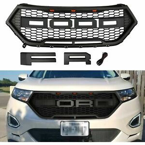 Front Hood Grille Black Grill Raptor Style Matte For 2015 2018 Ford Edge W Led L