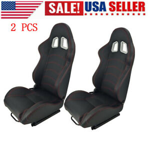 2pcs Car Racing Seats Pvc Faux Leather Reclinable Bucket Sliders Adjuster Double