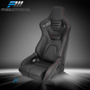 Bucket Racing Seat Adjustable Universal Dual Slider Right Pu Carbon Leather