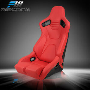 Adjustable Universal Racing Seat Dual Slider Right Red Pu Carbon Leather