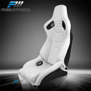 Adjustable Universal Racing Seat Dual Slider Right White Pu Carbon Leather