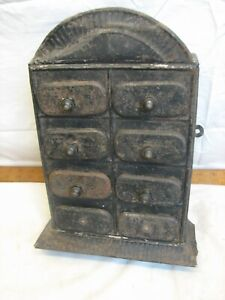 Antique Tin Wall Hanging Spice Cabinet 8 Drawers Home Decor Metal Folk