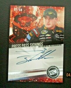 TY DILLON PRESS PASS 2014 CERTIFIED AUTHENTIC SIGNATURE 32 50 BLUE INK NM $9.00