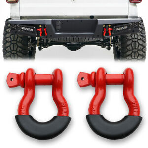 New 3 4 D ring Shackle 4 75t Red Towing Chain Bow Buckle W Black Isolators