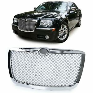 Chrome Finish Bentley Style Honeycomb Mesh Web Design Grill For Chrysler 300c