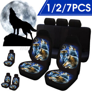 1 5 Seat Universal Wolf Animal Print Front full Car Seat Cover Protectors Covers