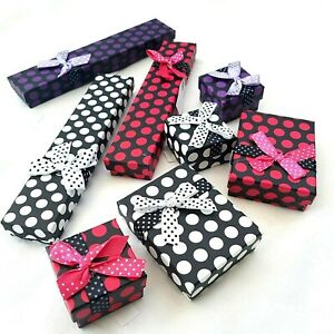 Polka Dot Jewellery Gift Boxes Necklace Bracelet Ring Present Presentation Box