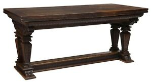 Antique French Carved Oak Draw Leaf Table Trestle Library Console Dining Office