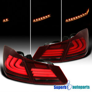 For 2013 2015 Honda Accord Sequential Led Drl Strip Signal Tail Lights Red Smoke