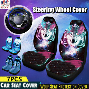 7pcs Breathable Wolf Animal Print Universal Car Suv Front Rear Seat Cover Decor