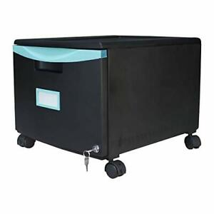 Storex Plastic 1 drawer Mobile File Cabinet All steel Lock And Key Black teal