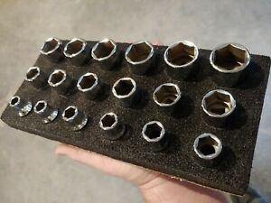 Snapon Tools 1 2 6pt 10 27mm Socket Set In Foam Tray