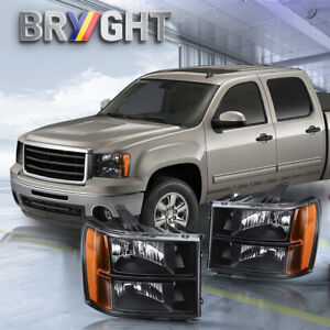 For 2007 2013 Gmc Sierra 1500 2500hd 3500hd Replacement Black Headlights Lamps