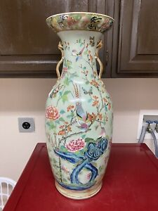 Superb Antique Chinese Celadon Famille Rose Large Vase