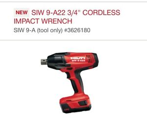 Hilti Siw 9 a22 3 4 Cordless Impact Wrench Charger 2 Battery