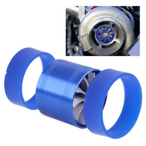 Supercharger Cold Air Intake Turbo Dual Gas Fuel Saver Fan Blue