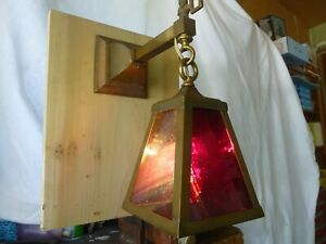 Six Antique Victorian 4 Sided Brass And Glass Sconces