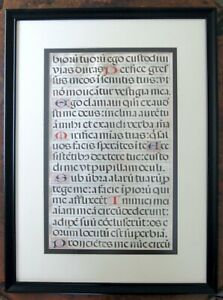 Antique Gothic Renaissance Illuminated Book Page 15th Cent Framed Beauty