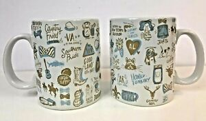Southern Pride Mugs 2 Primitives By Kathy Country Girls Boys 4 finger Handle Lg