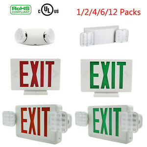 1 2 Pcs Led Exit Sign Emergency Light red green dual Head Compact Combo Ul