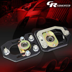 Pair Aluminum Front Adjustable Camber Caster Plates Black For 79 89 Ford Mustang