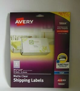 Avery 18664 Clear Easy Peel Mailing Labels Inkjet 3 1 3 X 4 60 Labels In Pack