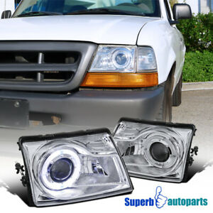 For 1998 2000 Ford Ranger Projector Headlights W Halo Ring Pair