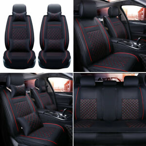 Universal Car Seat Cover Protector Pu Leather Full Set 5 Sits Suv Front Rear Us