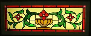 Old English Leaded Stained Glass Window Transom Flower Vase 40 5 X 15 25