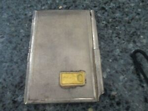 Vintage Silver Business Card Holder Case With Mini Pen