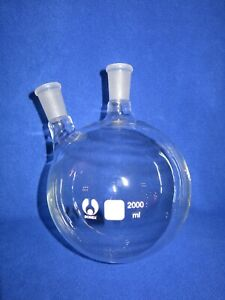 2 neck Round Bottom Boiling Flask 24 40 2000ml Heavy Wall New