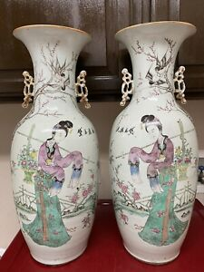Pair Fine Antique Chinese Large Famille Rose Vases