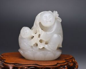 Chinese Antique Qing Dynasty Hand Carved Hetian White Jade Child Figure Statues