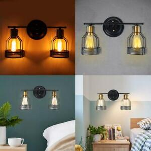 Wall Mounted 2 Light Metal Cage Wall Sconce Lampshade Pendant Vintage Light Deco